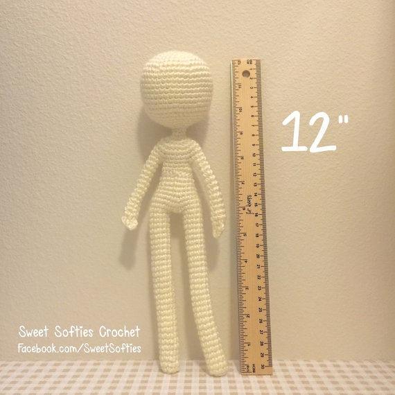 12 Base de la muñeca delgada patrón Amigurumi Crochet | Etsy