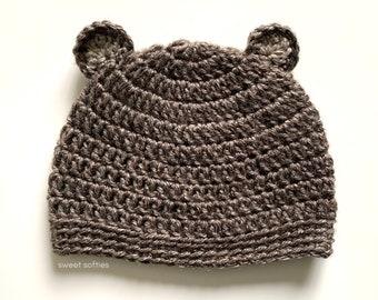 BEAR BEANIE Crochet Pattern (DIY Tutorial quick easy cute hat headwear accessory newborn baby toddler child adult sizes unisex girl boy