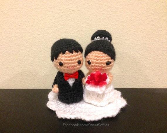 Amigurumi Crochet Wedding Kokeshi Couple Doll Pattern Chibi Bride