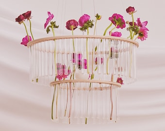 Home & Living Category Winner: Etsy Design Awards 2020 - Maria S.C. double test tubes chandelier / flower vase / home decoration /