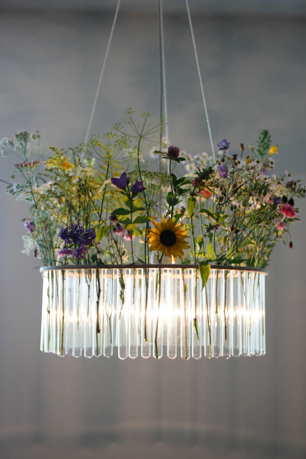 Maria S.C. single test tubes chandelier / lamp / // vase / floral decoration