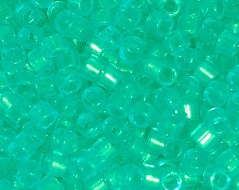 Delica Beads, Delica Beads, #11, 2g package, DB1304,  Transparent Crème de Mint Green