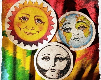 Sun Earth Moon Patches Set - Friendly Solar System Art by Trilodeon- Sew on Patches printed on Canvas- DIY cosmic consciousness accessories