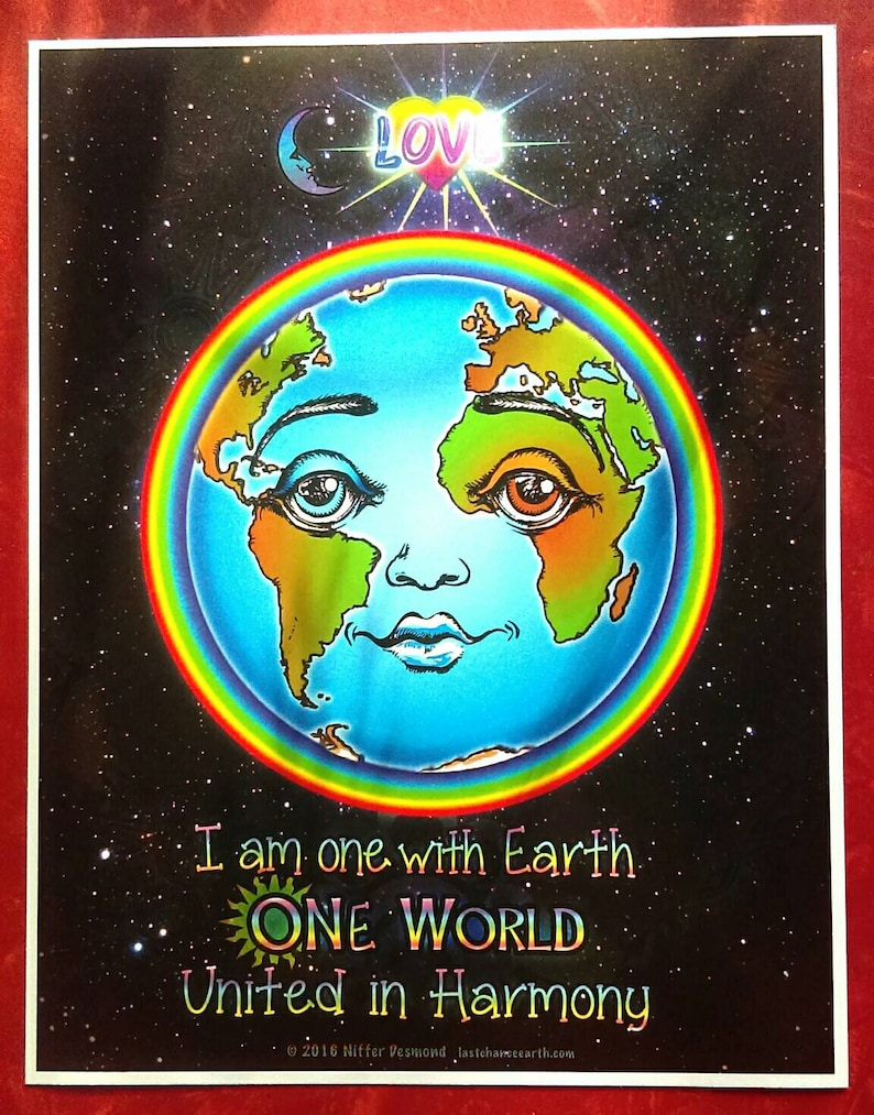 One World Earth Poster- Unity Consciousness Art Print - Classroom Decor -  Earth Day art- Envision Unity and Peace on Earth