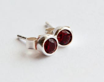 Sterling Silver Garnet Stud Earrings, January Birthstone Earrings