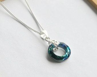 Swarovski Blue Cosmic Ring Necklace, Bermuda Blue Pendant, Sterling Silver Cosmic Ring, Swarovksi Crystal Necklace