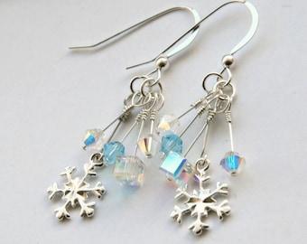 Swarovski Snowflake Earrings, Sterling Silver Snowflake Earrings, Icicle Earrings, Christmas Earrings