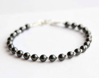 Hematite Bracelet, Tiny Hematite Bead Bracelet, Gemstone Bracelet, Confidence Bracelet, Study Bracelet, Balance Bracelet