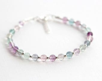 Rainbow Fluorite Bracelet, Tiny Rainbow Fluorite Bead Bracelet, Gemstone Bracelet, Spiritual Bracelet, Intuition Bracelet, Yoga Bracelet