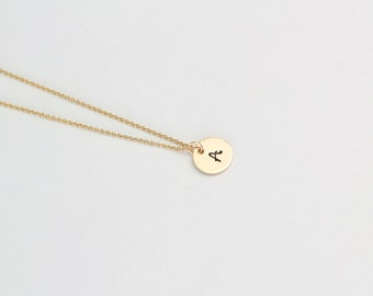 Gold Initial Necklace, Tiny Gold Necklace, Personalised Gold Necklace