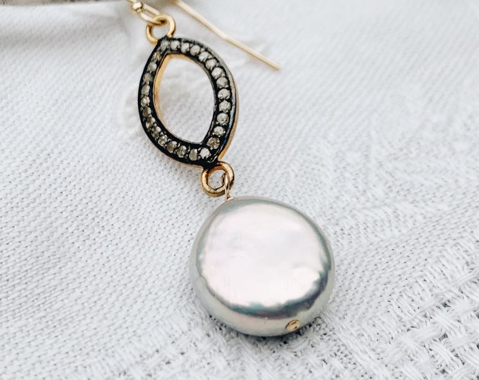 Diamond & Gray Coin Pearl Earrings
