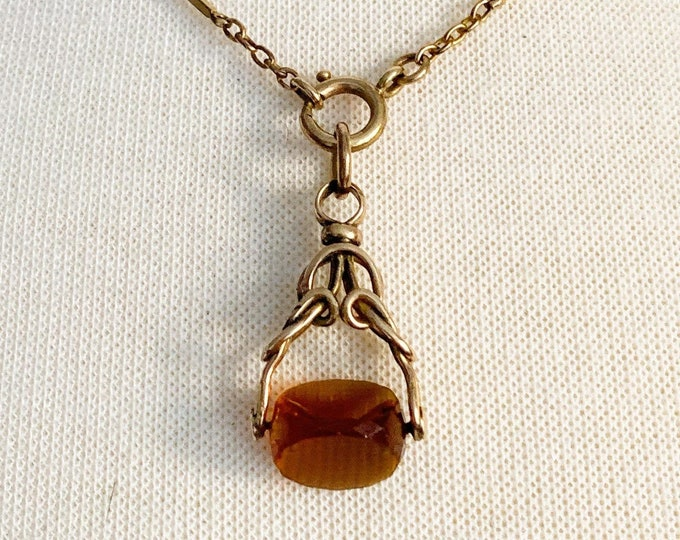 Antique Citrine Spinning Watch Fob, Rolled Gold