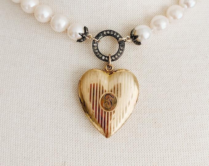 Antique Heart Locket, Hand-engraved Initial Monogram