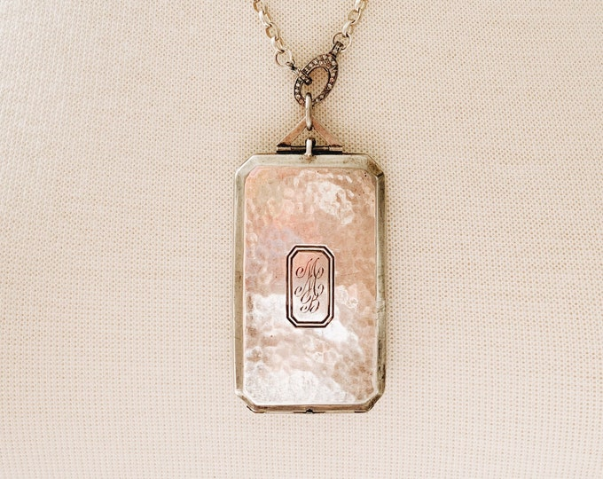 Rare Art Deco Sterling Silver Four Picture Locket with Monogram