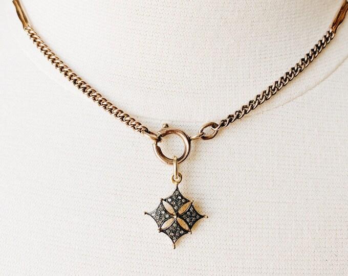 Diamond Cross Fleury Charm, Aged Silver & Gold Vermeil