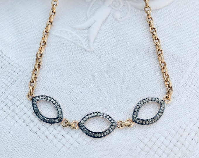 Diamond Marquis & Antique Belcher Link Necklace