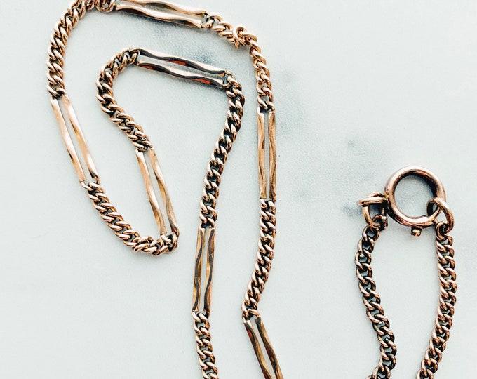 Old Vintage German Bar Link Necklace, Rolled Gold