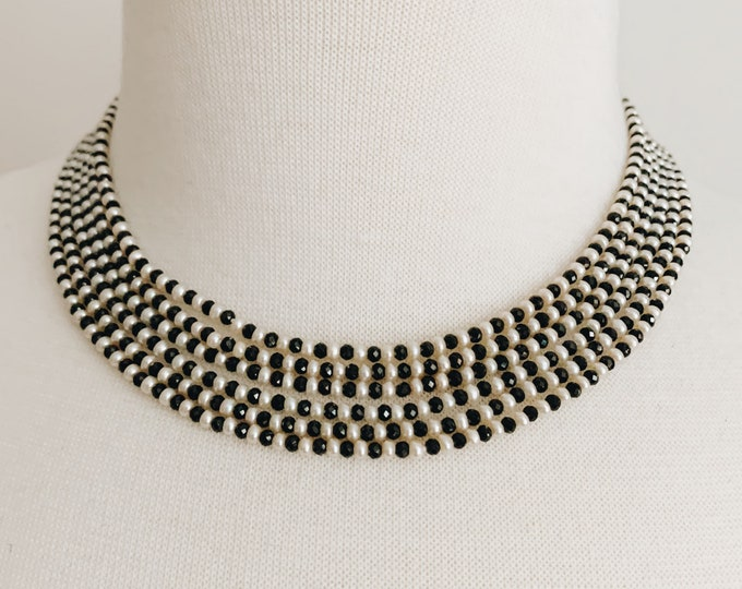 White Seed Pearl & Black Spinel Collar