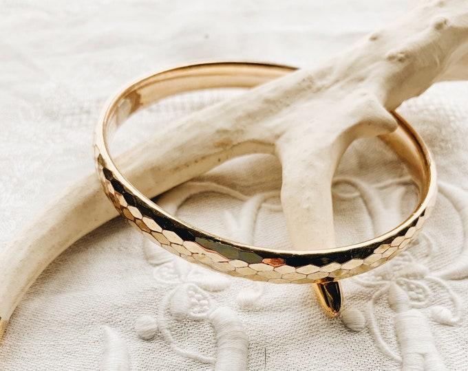 """Vintage Rolled Gold Snakeskin Pattern Bangle, 8"""""""