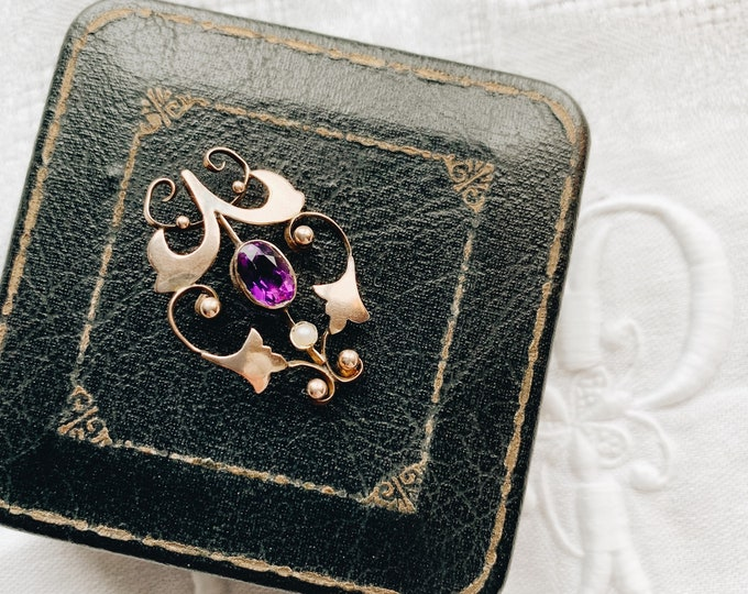 Antique Amethyst & Pearl Pendant, 10k Gold