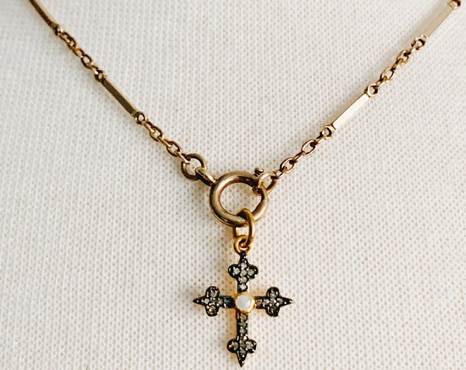 Delicate Victorian Bar Link & Belcher Chain, Rolled Gold