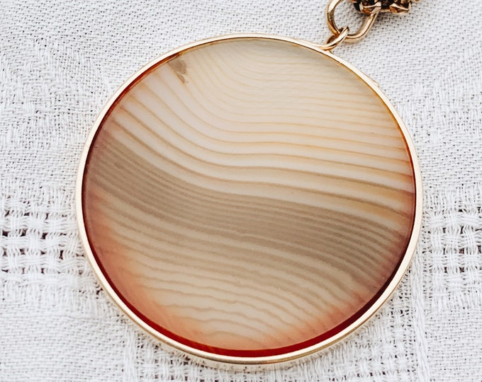 Vintage Striated Agate Pendant, 14k Gold