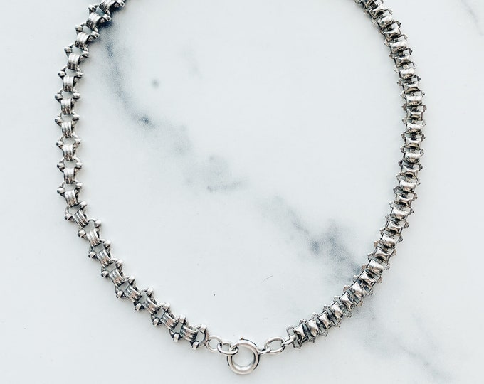 """Antique Sterling Watch Chain Conversion Necklace, 17"""""""