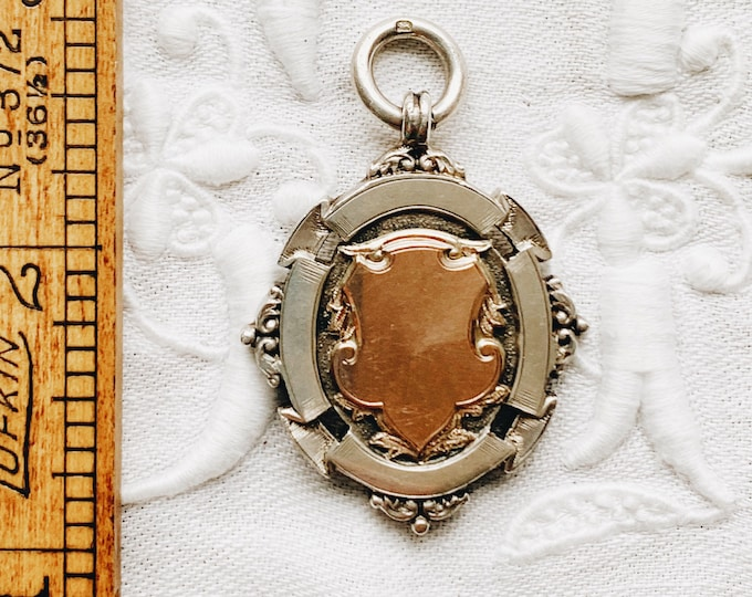 Large Antique Silver & Rose Gold Sports Medal Fob, Inscribed 1903