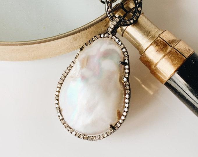 Statement White Baroque Pearl &  Diamond Pendant