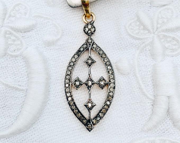 Diamond Cross Marquis Pendant