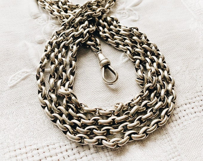 Heavy Antique Silver Belcher Link Muff Chain, extra long