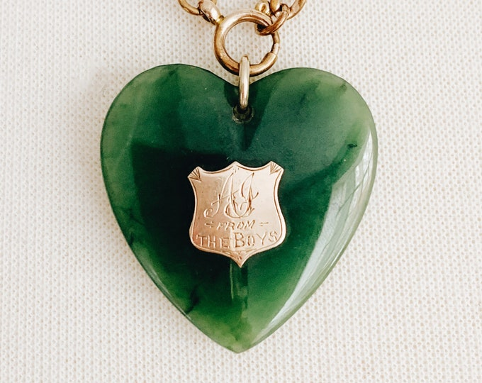 """Large Victorian Nephrite & 9k Gold Shield Heart Pendant, Inscribed """"AJ from the Boys """""""
