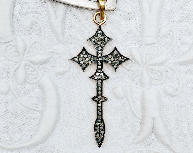 Long Gothic Diamond Cross Pendant