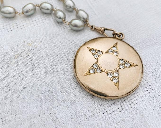 "Edwardian Gold-filled Locket with Paste ""Star"""