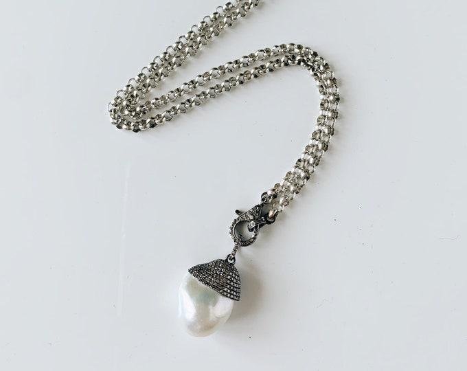 Antique Sterling Silver Belcher Chain with New Diamond Clasp, White Baroque Pearl & Diamond Pendant