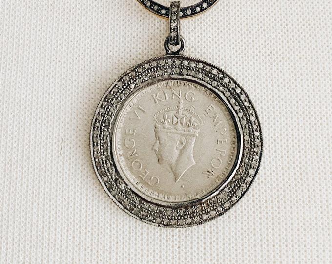 1940s Silver Coin Pendant in Diamond Setting