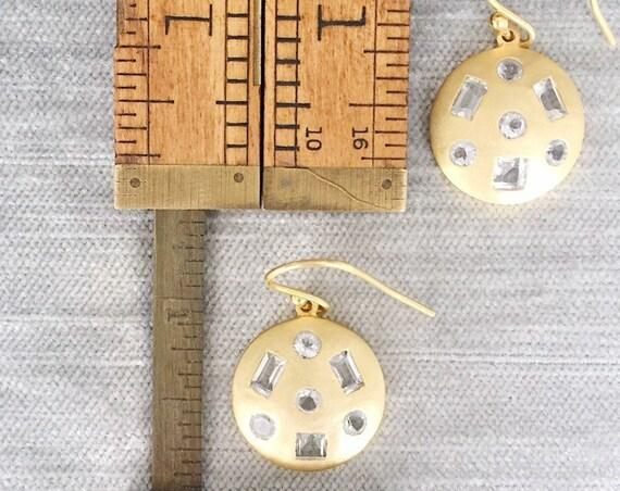 Geometric White Topaz and Matte Gold Dangle Earring
