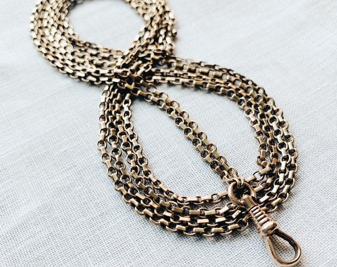 Long Vintage Pinchbeck Muff Guard Chain, Belcher Link