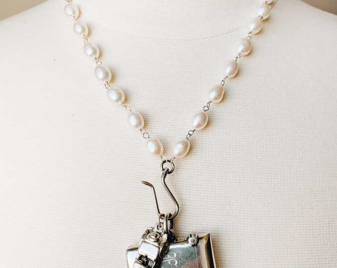 Hand-wrapped White Pearl Necklace with Antique Silver Shepherd's Hook