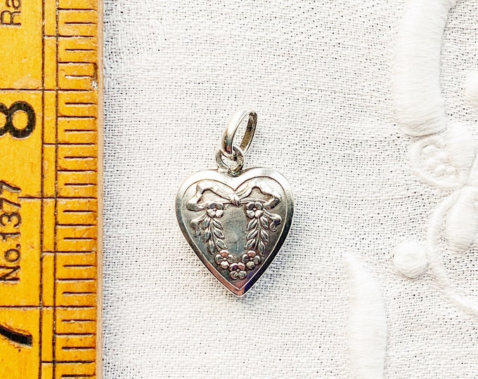 Antique French Silver Heart Pendant