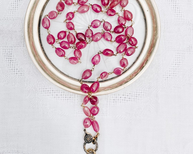 Polished Ruby Necklace with Diamond Clasp