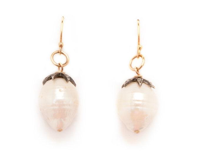Baroque Pearl and Diamond Cap Earrings, Gold vermeil