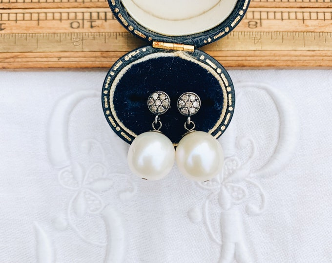 Perfect Diamond and White Pearl Drop Earrings, Oxidized Silver