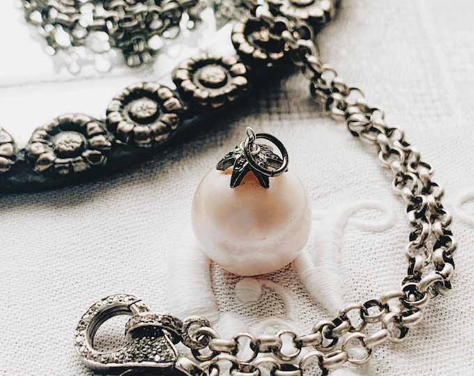 Antique Silver Chain & Pink Baroque Pearl and Diamond Pendant