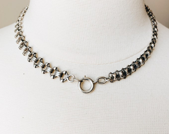 Antique Sterling Watch Chain Conversion Necklace, 17""
