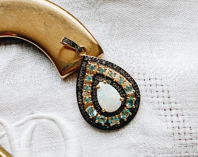 Opal, Blue Topaz & Diamond Pendant