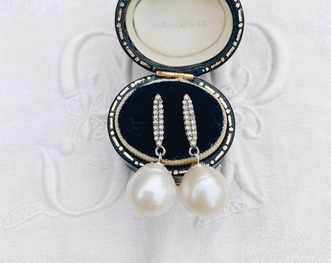 Diamond Bar & White Pearl Drop Earring, Oxidized Silver