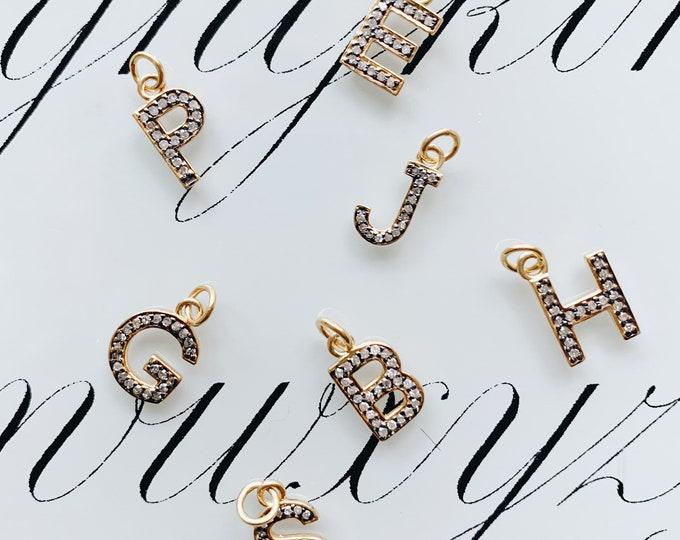 Diamond Initials, Oxidized Silver & Gold Vermeil