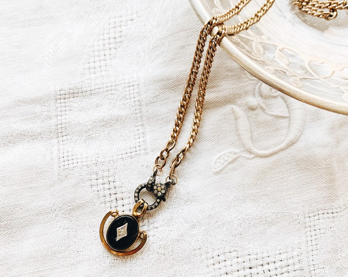 Victorian Rolled Gold Curb Chain & Onyx Pendant Necklace