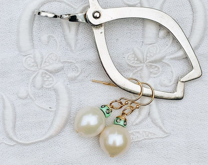 Mint Enamel & Diamond Cap Pearl Earring
